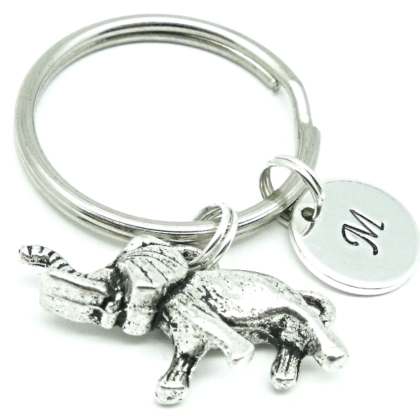 3D Elephant gift keyring personalised initial